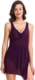 LIJIAN 女性のための水着フリルローカットメッシュ遠近法の高さウエストワンピース媚薬ビキニ (色 : Purple, サイズ : S)