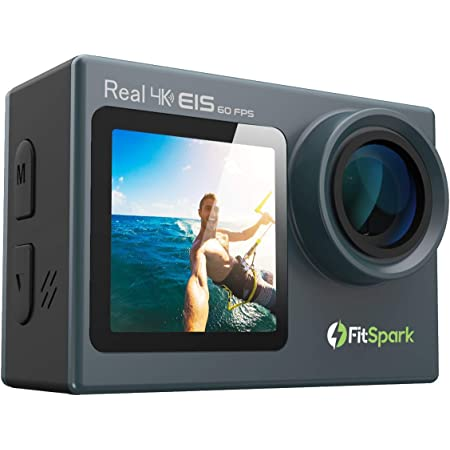 FitSpark Eagle iMAX Dual Screen Real 4K WiFi Action Camera with Touch | Ultra HD 170° Wide-Angle Lens | 6-Axis Gyro Stablization + EIS | External MIC Support | Distortion Correction | 40M