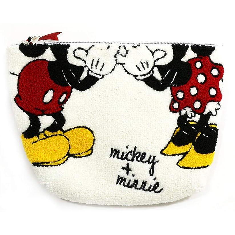 回復する検体創始者Disney(ディズニー) ミッキー&ミニー さがらポーチ WHITE