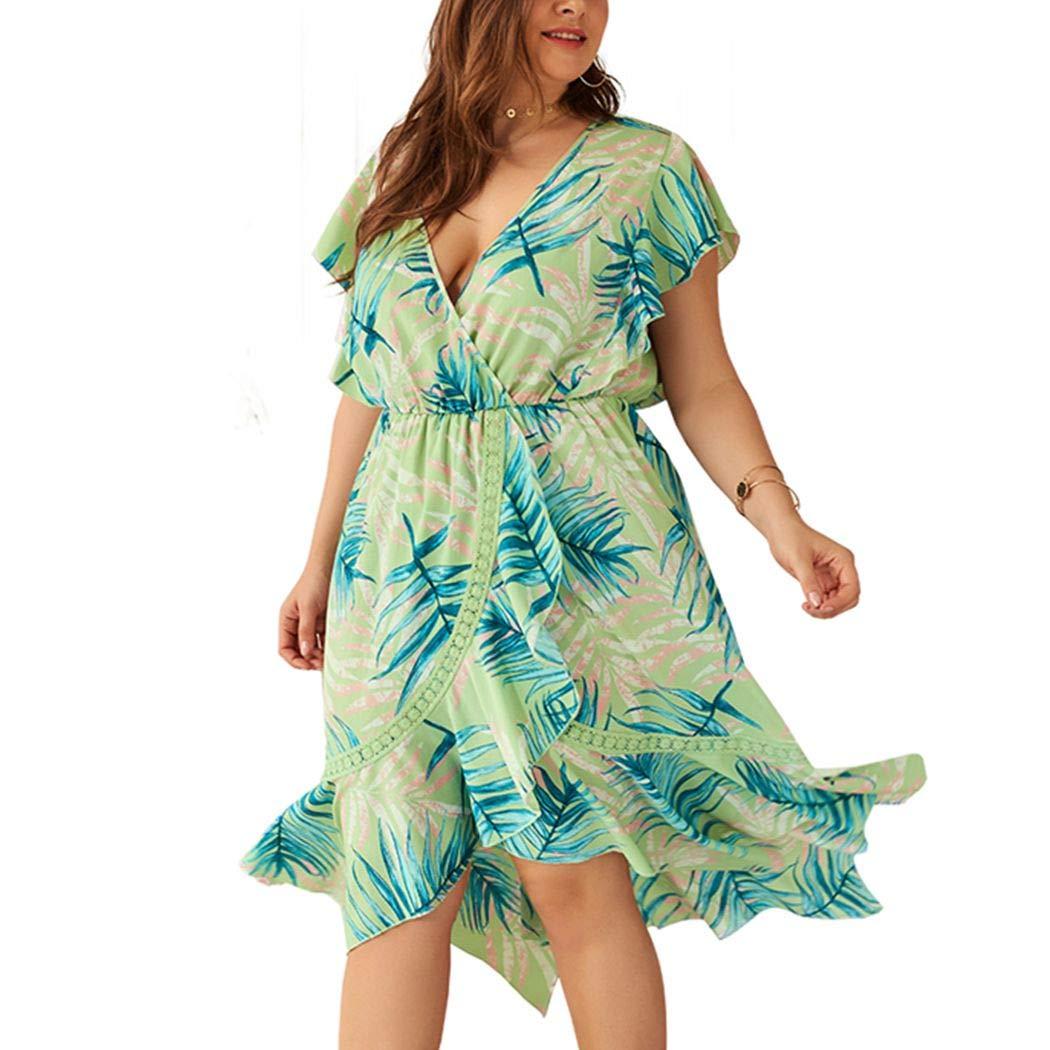 Available at Amazon: Women's Boho Deep V Floral Print Polo Dress Lace Split Beach Party Midi Dresses