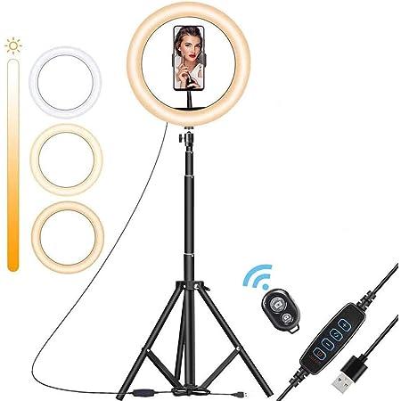 Aro Luz Led para Selfies para Fotografia Videos Transmisión en Vivo Anillo de Luz con Trípode Ajustable para Celular Teléfono (10.2 Pulgadas, Trípode 150CM)