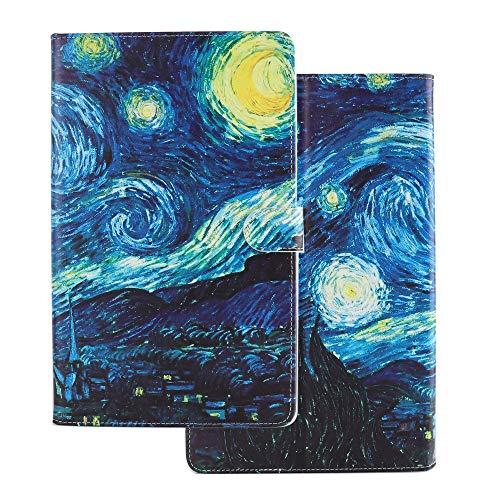 Tablette Hülle für Universal 10 Zoll (9.5-10.5 Zoll) - Tasche Leder Flip Hülle Etui Schutzhülle Smart Cover für 9.6 9.7 10.1 10.2 10.4 10.5 Tablet Ölgemälde Sternenhimmel