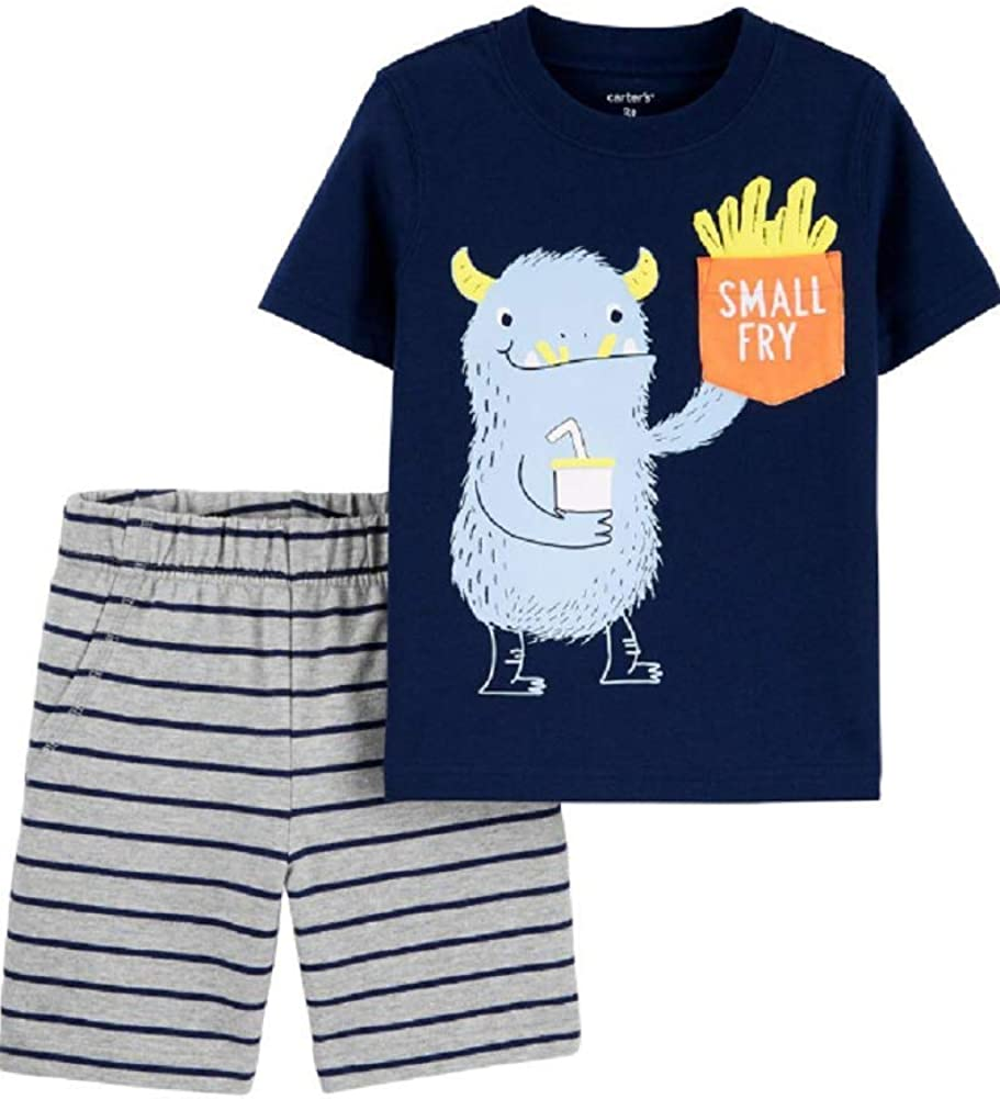 Carter's 2-Piece Monster Pocket Tee & Striped Short Set, 24 Months Navy, Grey