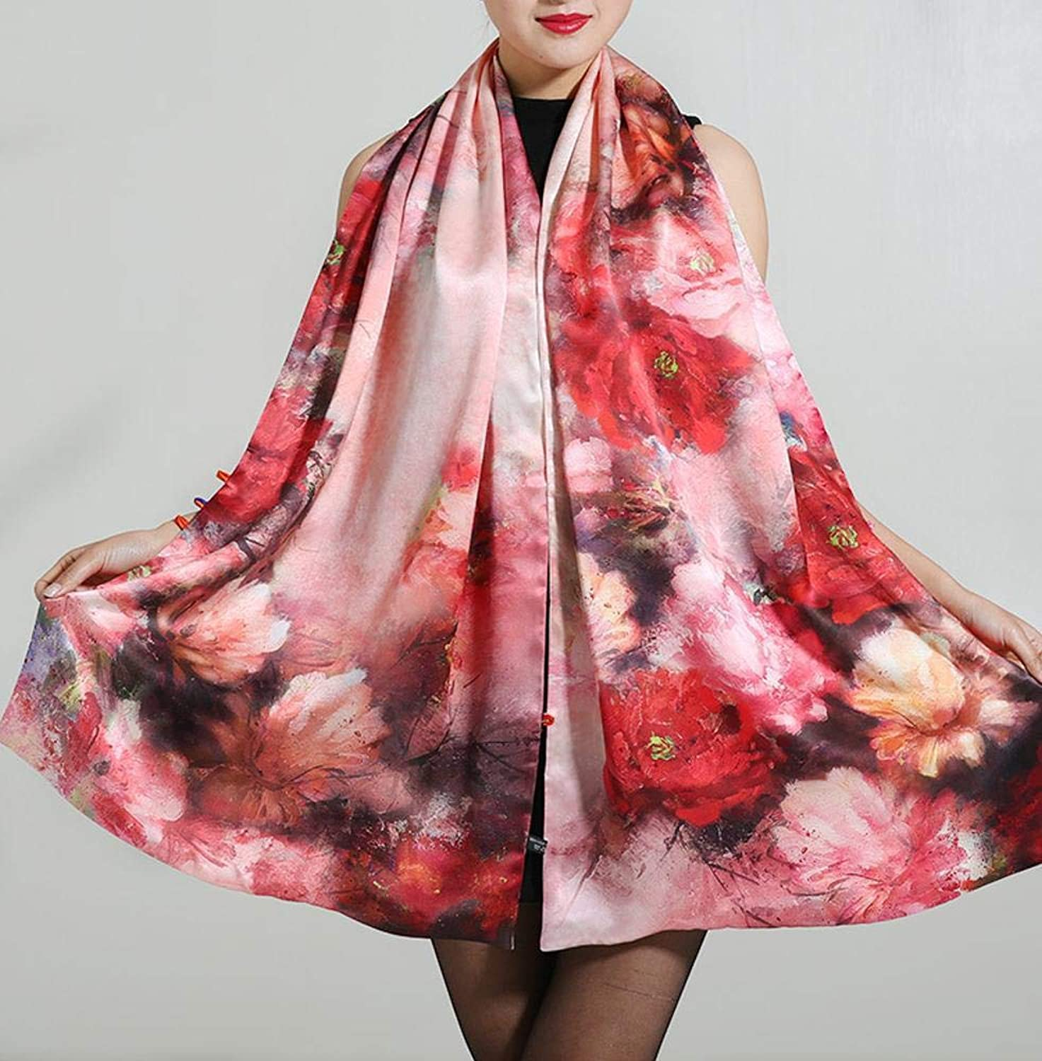 Weiwei Ladies Silk Shawl Silk Scarf Windproof Warm Birthday Present 55cm190cm