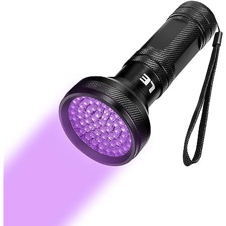 LED de Luz Negra Recargable de 395nm Utilizada Para Detectar Orina de Mascotas Captura de Escorpiones. Manchas ELAE Linterna UV Bater/ía 18650 y Cable USB Incluidos