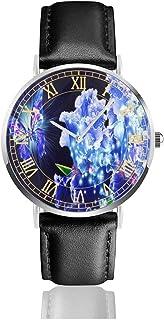 腕時計美しい青い蝶の花。メンズ腕時計ファッションカジュアルビジネススポーツ高品質多機能クロノグラフレザーウォッチレザーストラップ防水クォーツウォッチ