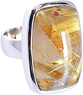 Anillo de plata de ley maciza 925 con piedras preciosas de rutilo doradas naturales para mujer FSJ-5850