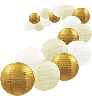 UNIQOOO 18Pcs Gold Foil Paper Lantern Set,5 Size Mix,Reusable Hanging Decorative Japanese Chinese Paper Lanterns Lamps,Easy Assembly,For Birthday Wedding Baby Shower Christmas Party Decor Supplies Kit