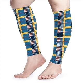 Shadidi Calf Compression Sleeve Half Sweden Half America Flag Calf Shin Supports Leg Compression Socks - Men Women