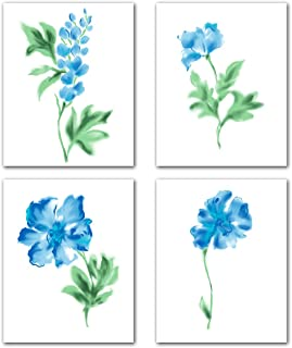 Blue Flowers Wall Art Canvas -Green Watercolor Orchid Poppy Kitchen Bedroom Home Decor Office Living Room Decoration Floral Plant Abstract Painting Picture Print Still Life Poster Set of 4 Unframed