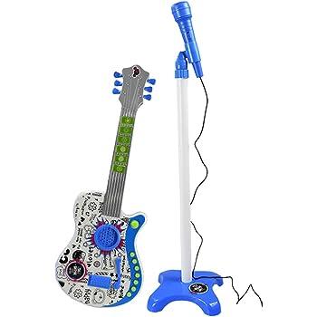 Rolanli Karaoke Microfono y Guitarra Electrónica con Soporte para ...