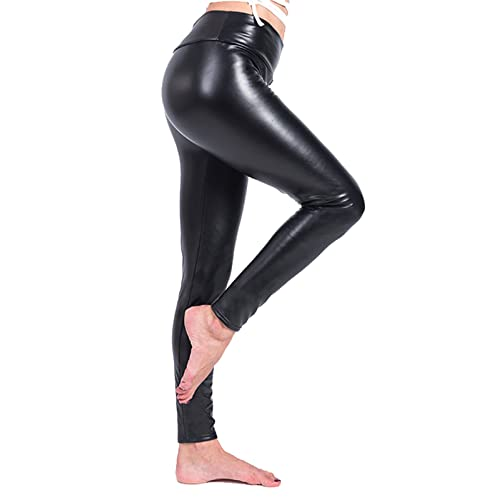 331e65a0aefb5 Ecupper Women Black Faux Leather Leggings Thick Warm Fleece Lined High  Waisted Stretch Trousers