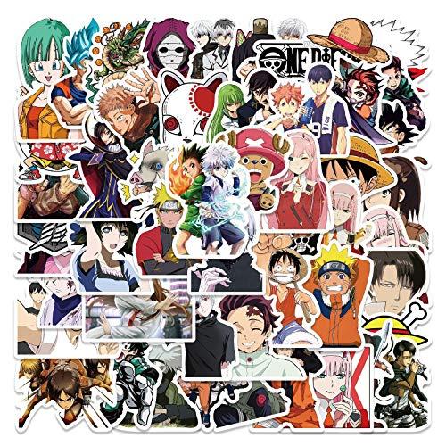 50 pegatinas de colección de anime para cuaderno de agua con copa de casco y decoración del cuerpo