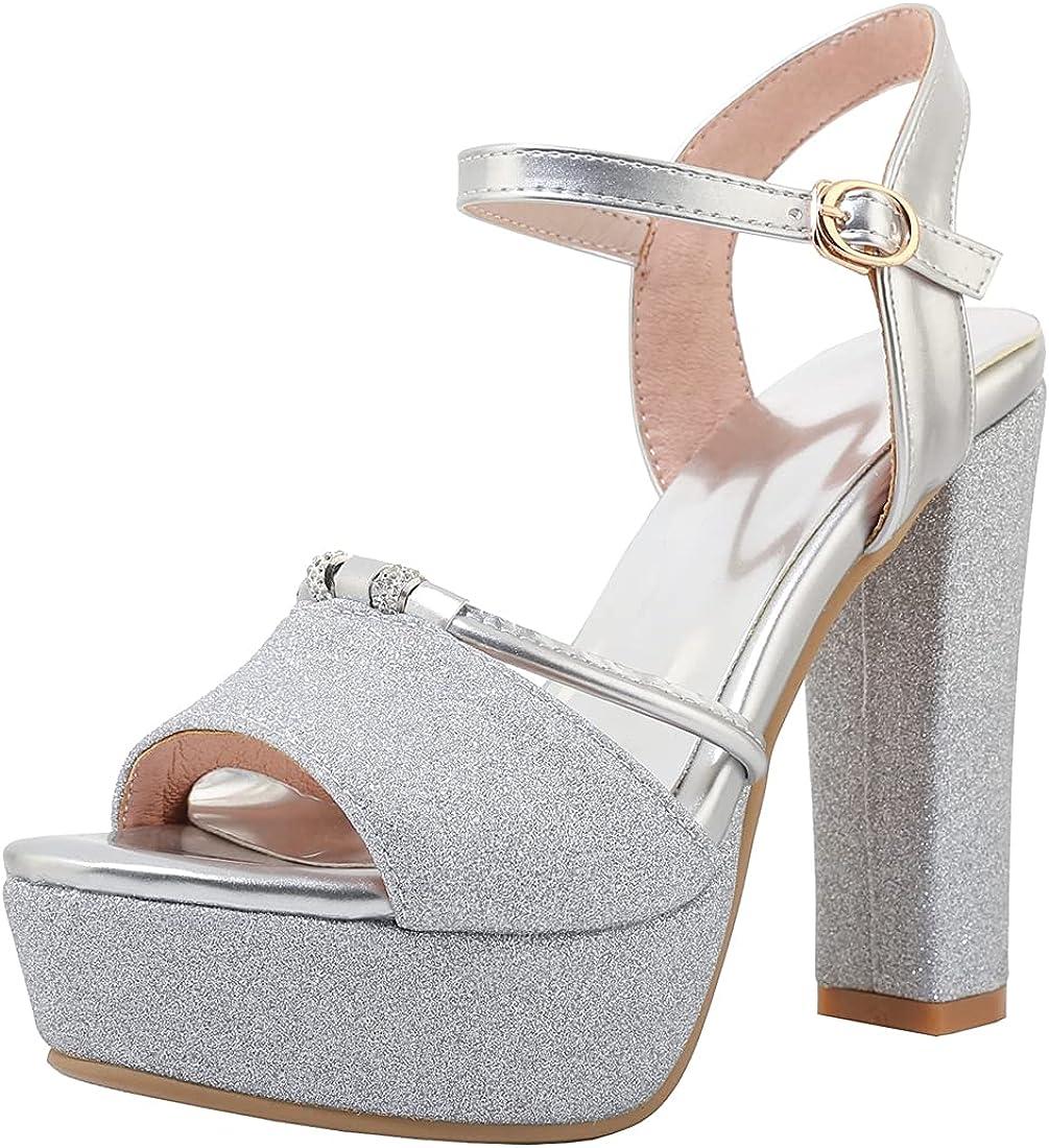 MISTU Women's Platform Fashion High Heel Sandals Toe Max 88% OFF Ankle Open We Strap