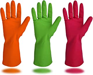 Cleanbear Synthetic Rubber Gloves, Medium Size, 11.8 Inches, 3 Pairs 3 Colors