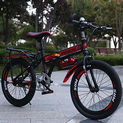 YEARLY Bambini bici pieghevole, Bici pieghevoli studente Bambini di bici piegante Molto leggero Mountainbike Ragazzi e ragazze Bicicletta pieghevole-nero 22inch