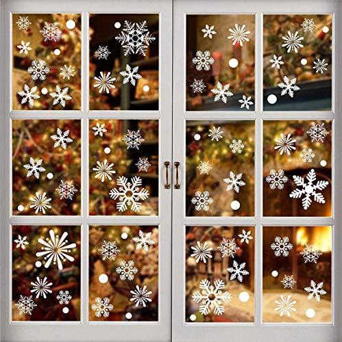 Ffmamw 286 Piece Christmas Snowflake Window Stickers - Xmas Holiday White Winter Christmas Window Decorations Ornaments(8 Sheets)