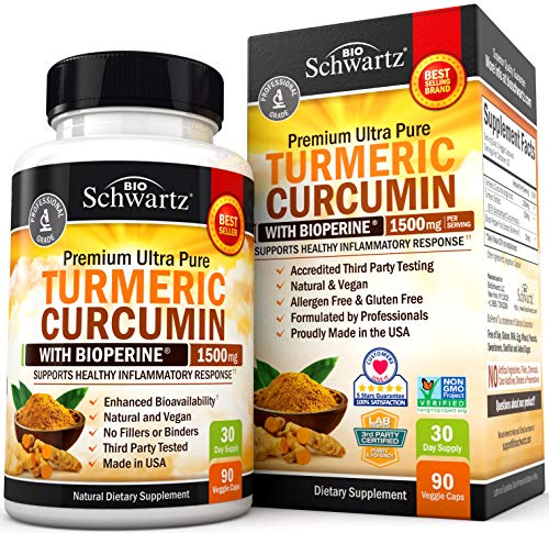 HIGHEST POTENCY AVAILABLE TURMERIC PILLS ENHANCED WITH BIOPERINE: BioSchwartz Turmeric formula has 1500mg of Turmeric Curcumin with 95% Standardized Curcuminoids per serving (Highest Potency) and 10mg of BioPerine (black pepper, curcumin with black p...