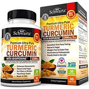 Turmeric Curcumin with BioPerine 1500mg - Natural Joint & Healthy Inflammatory Support with 95% Standardized Curcuminoids for Potency & Absorption - Non-GMO, Gluten Free Capsules with Black Pepper.