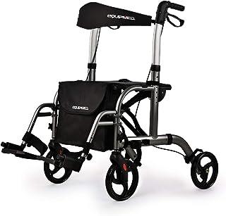 EQUIPMED SmartRoller 2-in-1 Aluminium Rollator and Transit Wheelchair, for Seniors Elderly, Grey