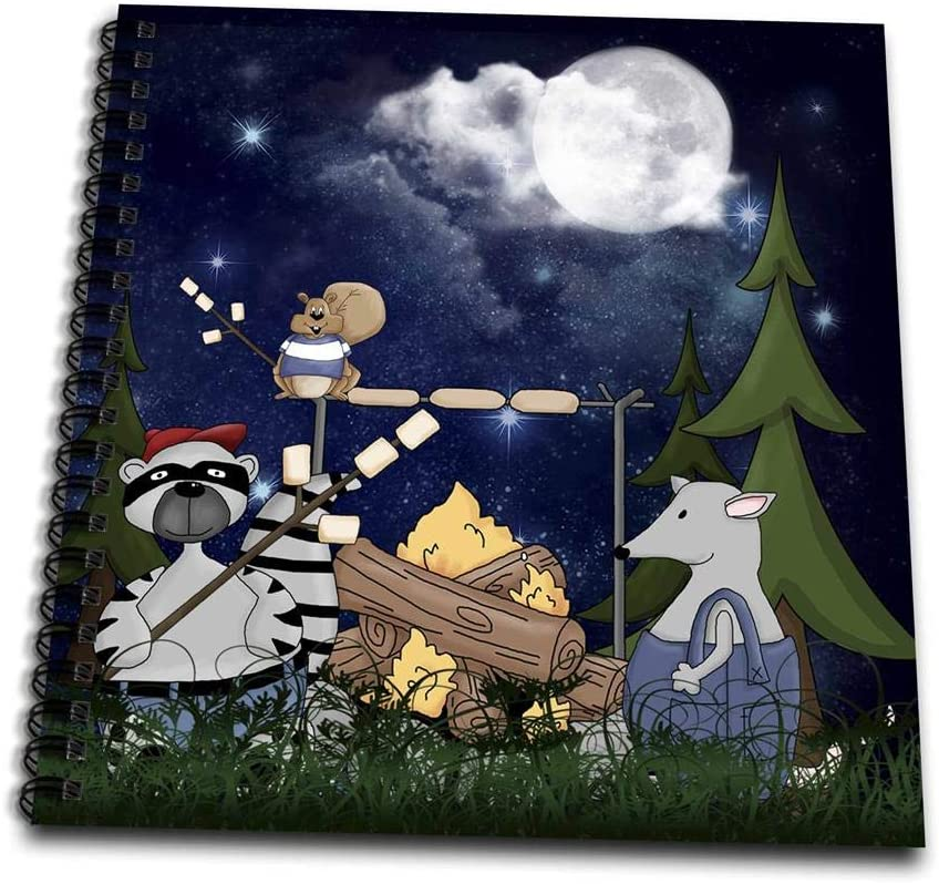 3drose Db 101839 1 Raccoon Squirrel Opossum Camping With A Campfire Marshmallows Drawing Book 8 By 8 Amazon Ca Home Kitchen