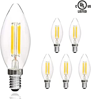 Svater LED Filament Candle Clear Bulbs E12 LED Candelabra Bulbs 4W C32 Torpedo Shape 400LM 360 Grad Beam Angle Warm White 2700K Indoor&Outdoor Vintage Bulb 6 Pack