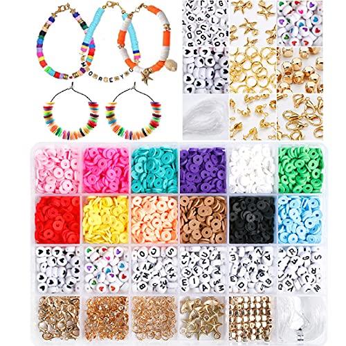 abalorios para hacer collares pulseras, 6mm beads for jewelry making, 12 color bolitas bolas para hacer DIY Bisutería pendientes adultos niños, Beads Kit con broche de langosta, cuerdas