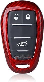 M.JVisun Genuine Carbon Fiber Key Fob Cover for 2017-2021 Alfa Romeo Giulia Stelvio 4C Spider Smart Car Remote Key, Car Key Fob Case for Men Fob Cover for Women - Red