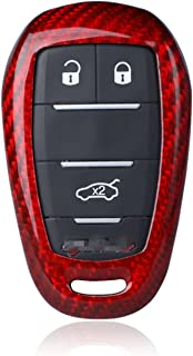 100% Carbon Fiber Case For Alfa Romeo Key Fob, Genuine Carbon Fiber Cover For Alfa Romeo Giulia Alfa Romeo Stelvio Smart Keyless Fob Remote Key, Men's Car Key Fob Case Protector Women's Fob Cover -Red