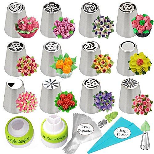 Russian Piping Tips Cake Decorating Supplies Kit Flower Frosting tips Set 12 Icing Nozzles 2 Couplers 2 Leaf Tips 1 Silicone Bag 10 Pastry Baking Bags + Free XLarge Cookie Piping tip in a Gift Box