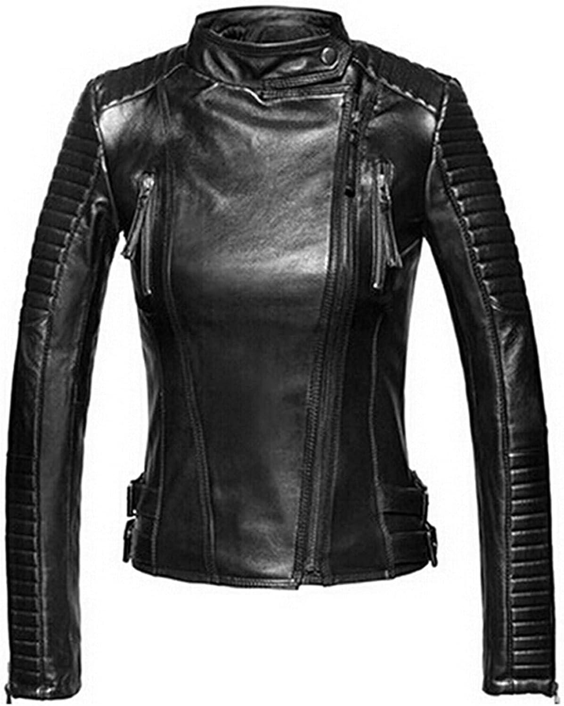 Women Basic Faux Leather Jacket Autumn Winter Soft Pu Leather Punk Coats Female Short Bomber Leather Jackets (Color : Black, Size : S.)