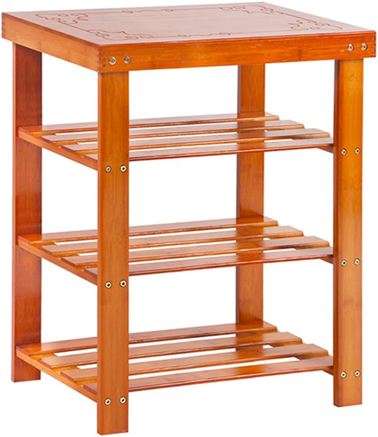 ZHIRONG shoes Rack 2 Tier Bamboo shoes Rack Bench Changing shoes Stool,Storage Organiser Holder Made 100% Natural Bamboo