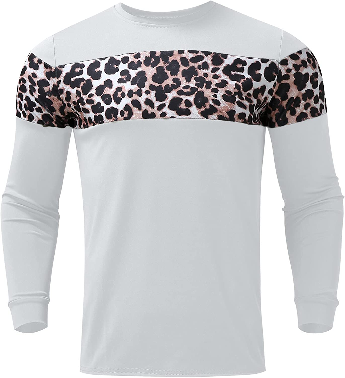 Men's Casual Crewneck Pullover Long Sleeve Printed Leopard Stitching Casual Top Blouse