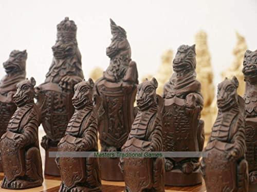 diseñador en linea Berkeley Berkeley Berkeley Royal Beasts Ornamental Chess Set - Cream and marrón  Venta barata