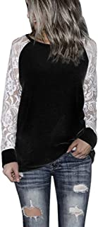 Xinantime Womens Solid Blouse Lace Floral Patchwork Long Sleeve Round Neck Sweatershirt Casual T-Shirt Blouse Tops