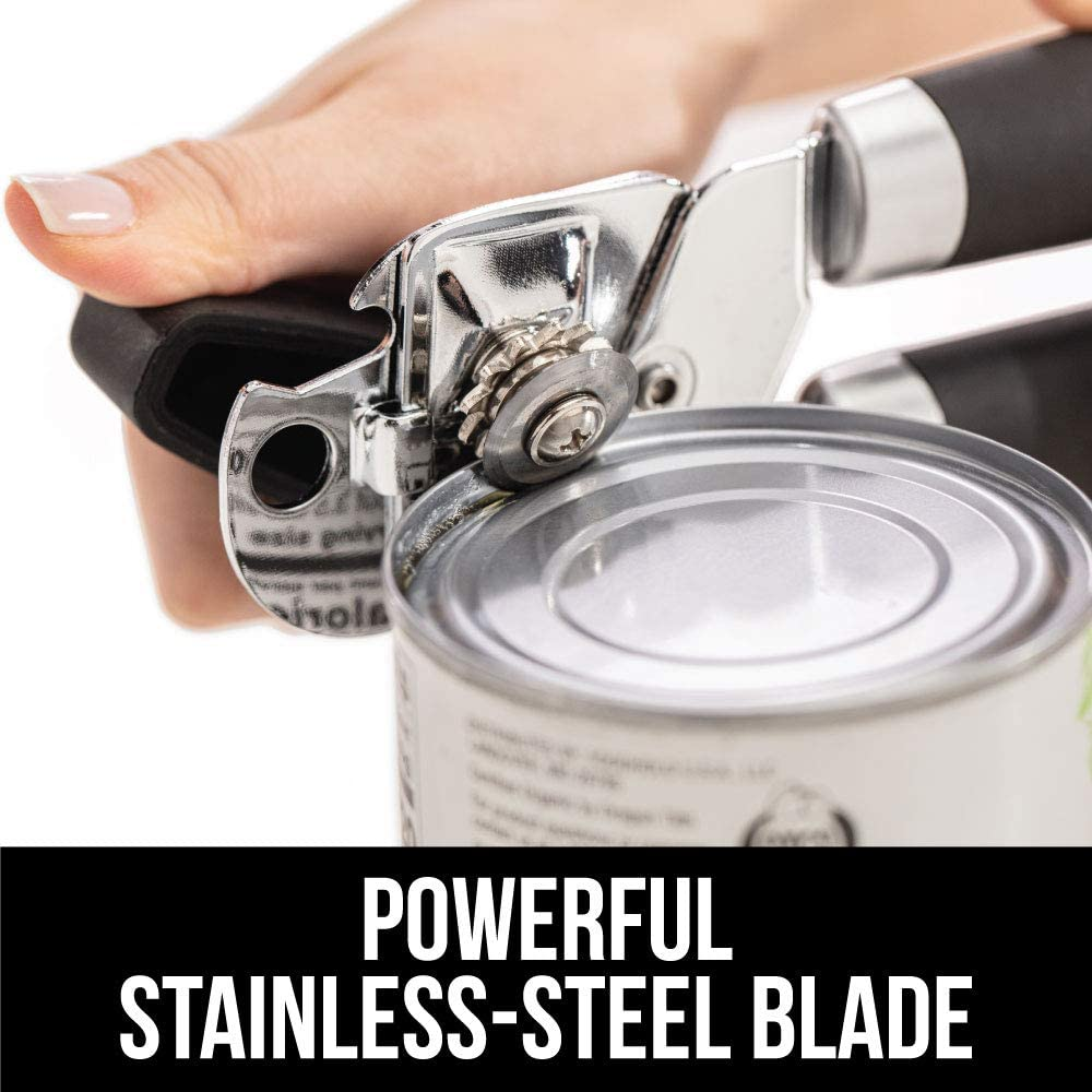 Built in Bottle Opener Gray Oversized Easy Turn Knob Comfortable Grip Smooth Edges Gorilla Grip Original Premium Manual Can Opener Sharp Blades Easily Open Tin Cans Hangs for Convenient Storage