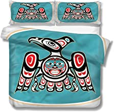 Mademai King Size Duvet Cover Set Eagle,Thunderbird Native American Decorative 3 Piece Bedding Set with 2 Pillow Covers