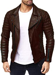 Men Faux Leather Jacket Zip Up Moto Biker Coat Warm Motorcycle Jacket