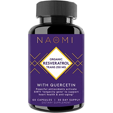 NAOMI Organic Trans Resveratrol Supplement 250mg with Quercetin, Anti Aging Supplement for Cardiovascular Health, Anti Inflammatory and Brain Booster Supplement, 60 Veggie Capsules