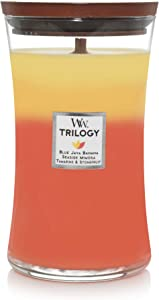 WoodWick Trilogy Tropical Sunrise - Blue Java Banana, Seaside Mimosa, Tamarind and Stonefruit Scented Crackling Wooden Wick Hourglass Candle in Clear Glass Jar, Large - 21.5 Oz