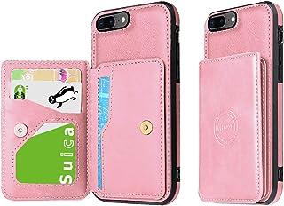 iPhone 8Plus ケース iPhone 7Plus ケース スタンド機能 カード収納 オシャレ カワイイ 軽量 高級合皮レザー ケース ピンク(5.5インチ) ストラップホール付き