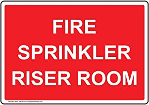 Fire Sprinkler Riser Room Label Decal with Symbol, 7x5 in. Vinyl for Wayfinding Fire Safety/Equipment by ComplianceSigns