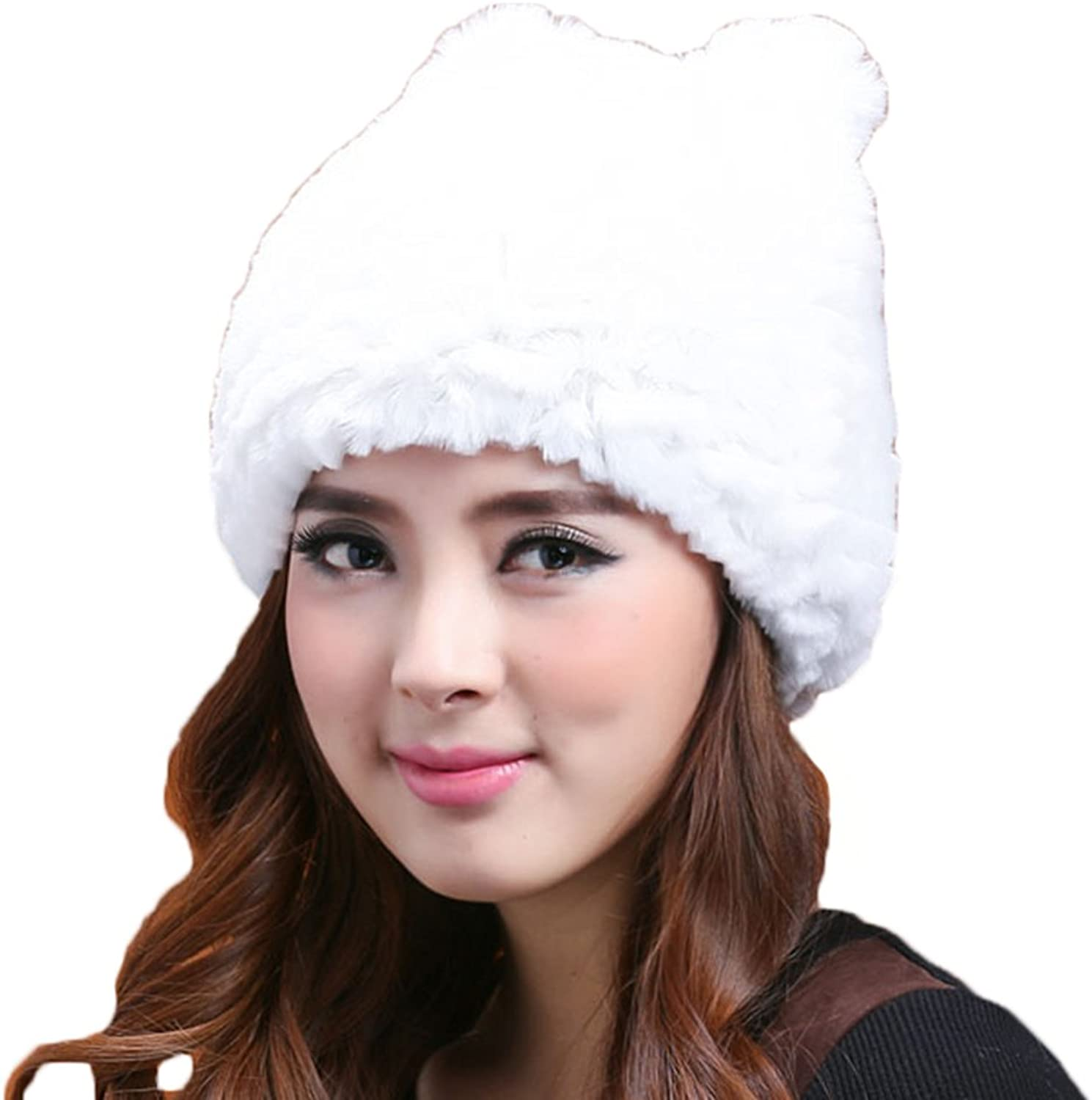 Mingxin genuine rabbit fur made colorful hat for women with cute kitty ears