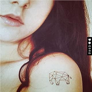 Geometric Elephant Temporary Fake Tattoo Sticker (Set of 2) - www.ohmytat.com