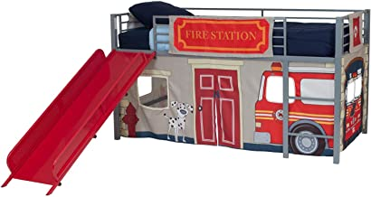 DHP Junior Silver Metal Loft Bed with Red Slide and Fire Department Curtain Set, Kids Furniture, Twin Size