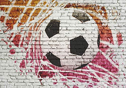 decomonkey Fototapete Fußball 350x256 cm Design Tapete Fototapete Fußballn Vlies Tapeten Vliestapete Wandtapete moderne Wand Schlafzimmer Wohnzimmer Kinderzimmer Kinder Ball