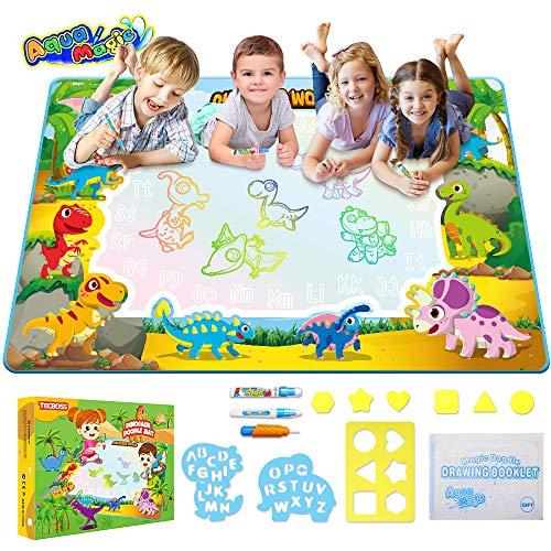 TECBOSS Water Drawing Mat, Dinosaur Aqua Magic Educational Mat Mess Free Painting Pad Doodle Board,...