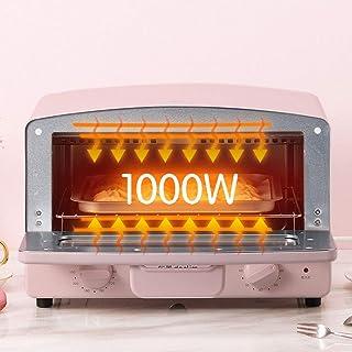 GJJSZ Horno de sobremesa, Azul Rosa,Horno pequeño,calefacción de Tubo de Vidrio de Doble Cuarzo,Parrilla de cajón y Potencia de cocción de 1000 vatios-12l