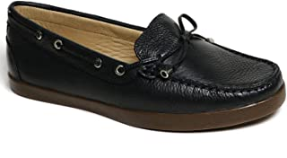 Driver Club USA Women's Leather Made in Brazil Boat Shoe with Tiebow Detail, Navy Grainy/Natural Sole, 5 M US
