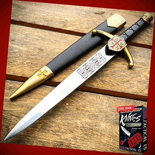 New 15.5' inch Knight Celtic Cross Crusader Medieval Fixed Blade Short Sword ProTactical Knife Dagger BA-0886kn + Free eBook by PrTac-US
